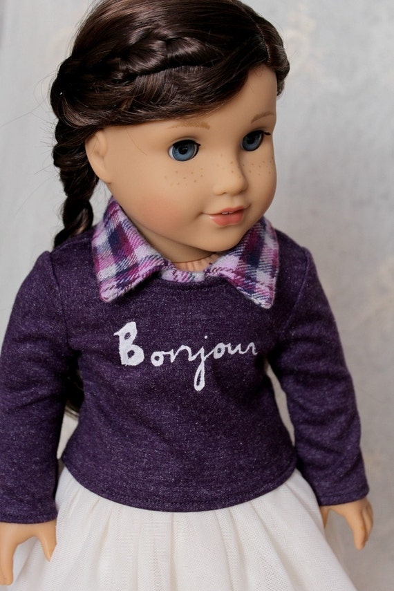 "Bonjour Sweater and Collar for American Girl or 18"" Doll"