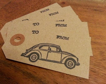 Christmas Kraft Gift Tags: Retro Vintage Volkswagen VW Bug Hand-Stamped