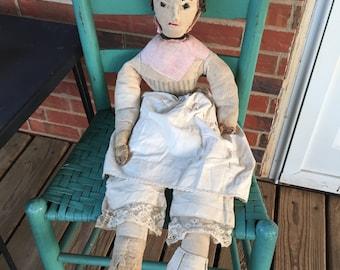 """19th C. Early Antique Rag Cloth Doll - 28"""""""