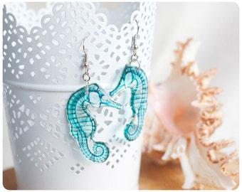 Transparent Earrings Green Seahorses