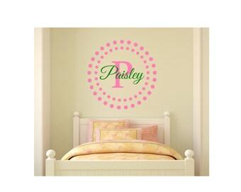 Girl namel decal with Polka Dot Border. Monogram name decal. Wall Art. Baby Girl Decal. Teen Girl Decal.