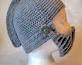 knight roman gladiator crochet hat with visor