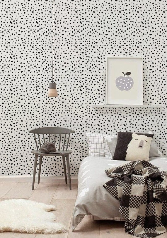 Self adhesive vinyl wallpaper, wall decal - Cheetah pattern- 072 MIDNIGHT/ SNOW