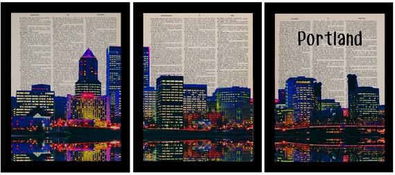 Portland Oregon Panorama Three Set Dictionary Art Print Pdx