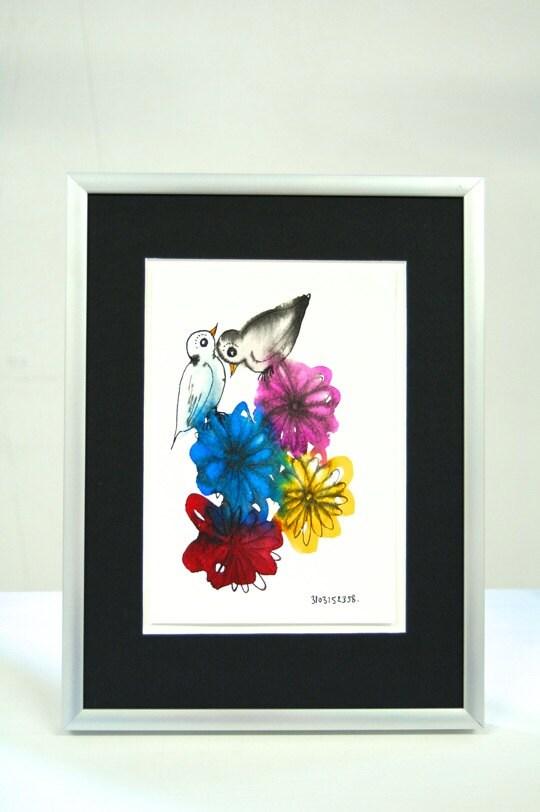 Moederdag cadeau vogels en bloemen origineel aquarel en - Originele toiletdecoratie ...