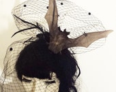 Nocturna Bat Fascinator black friday hat accessory ascot gothic
