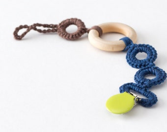 Baby Boy Pacifier Clip & Wooden Teether for Baby Shower Gift