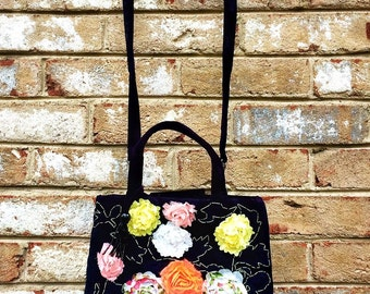 Unique Upcycled Purse vibrant black velvet clutch embellished with summer flowers applique