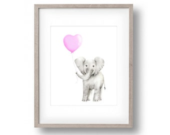 Elephant Nursery Art, Pink Balloon, Childrens Art, Pink and Grey Nursery, Baby Animal Print, Wall Decor, Painting, Safari Animal Art, Love