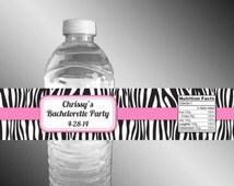 Zebra Print WATERPROOF Water Bottle Labels, Bachelorette Party, Sweet 16, Birthday, Baby Shower, Bridal Shower, Bat Mitzvah