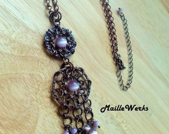 Antique Copper Purple Lilac Lavender Chainmaille Chandelier Pendant Chain Necklace Rustic Dreamcatcher Art Jewelry Chain Mail Cat's Eye Bead