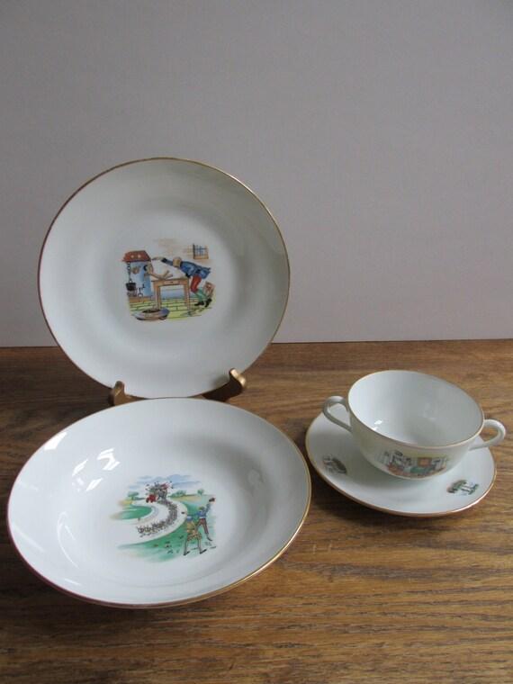 Vintage Richard Ginori Porcelain Children S Dinnerware Set