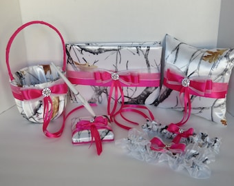 white camo wedding set hot pink camo customize wedding accessories white camo with