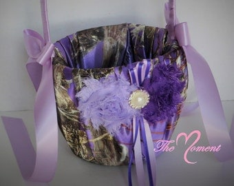 Purple Camo Flower Girl Basket,  True Timber Purple Camo Flower Girl Basket with Purple and Lavender Accents, Wedding Basket