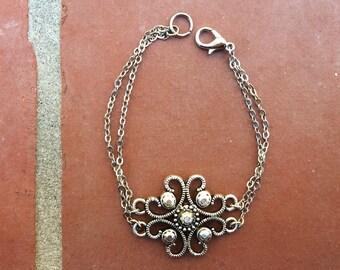 Silver Flower Medallion Charm Bracelet   Silver Multi-Chain Bracelet