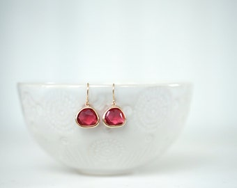 Ruby Red Gem and Gold Dangle Earrings | Bridesmaid Earrings | Wedding Jewelry