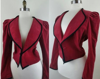 40s Velvet Jacket Red Cropped Bolero S/M