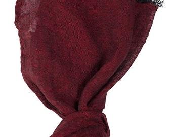 Organic Scarf - Dark red Scarf - Natural Linen - Woman Scarf  - Man Scarf - Organic Scarf - Linen Shawl