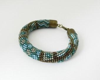 "Bead crochet rope Bracelet ""Patchwork"". Beadwork bracelet. Ready to ship. Handmade / beading / Beadwork Jewelry"