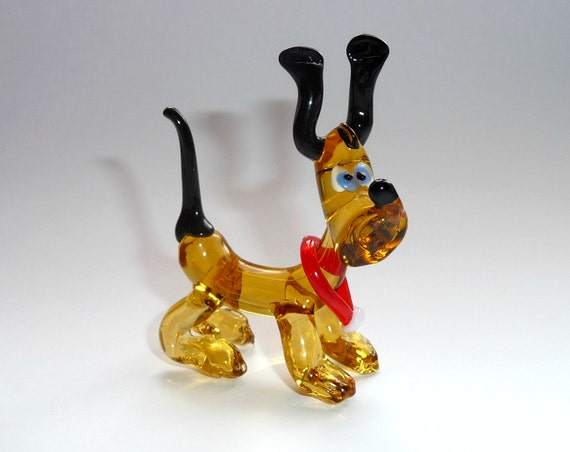 Glass dog figurine Pluto by WeAreLuckyShop on Etsy