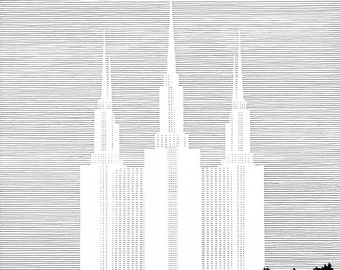 WASHINGTON DC LDS Temple (Original Drawing) Modern Ink Lines