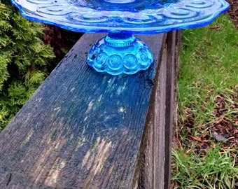 Aqua Cupcake Stand/Moon and Stars Blue Cake Stand/Beach Wedding Decor/Turquoise Boy Baby Shower/Aqua Blue Pedestal/Dessert Cake Plate Stand