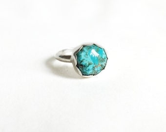 Sterling Silver Small Turquoise Ring, Scalloped Bezel