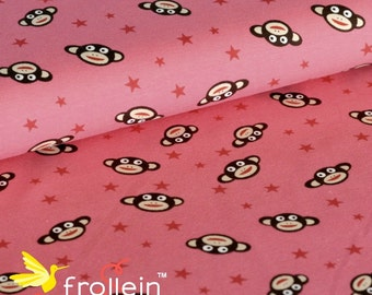 "Euro Cotton Jersey Knit fabric ""Monkeys and Stars in pink by 1/2 yd kids fabric"