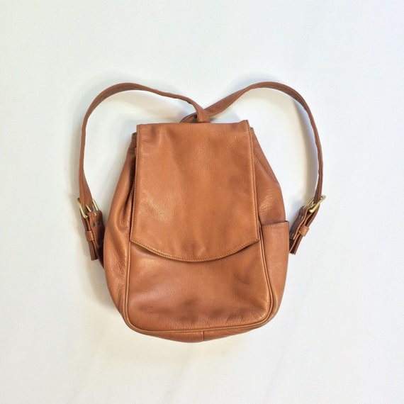 90s Tan Leather BACKPACK Purse Light Brown by TigerStyleVintage
