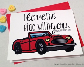 Valentine's Day Card - Cute Love Card - I love this ride with you