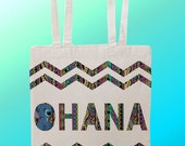 Ohana Lilo ans Stitch means family family means nobody gets left behind or forgotten - Reuseable Shopping Cotton Canvas Tote Bag