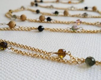 Turmaline and gold plated necklace. Turmaline Gemstones Gold Chain Necklace. Handmade jewellery