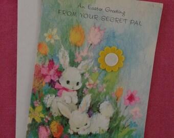 Vintage Easter Greeting Card From Secret Admirer Felt Appliqué. New Unused.