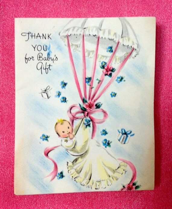 New Baby Gift Thank You Cards : Vintage baby gift thank you cards shower new girl