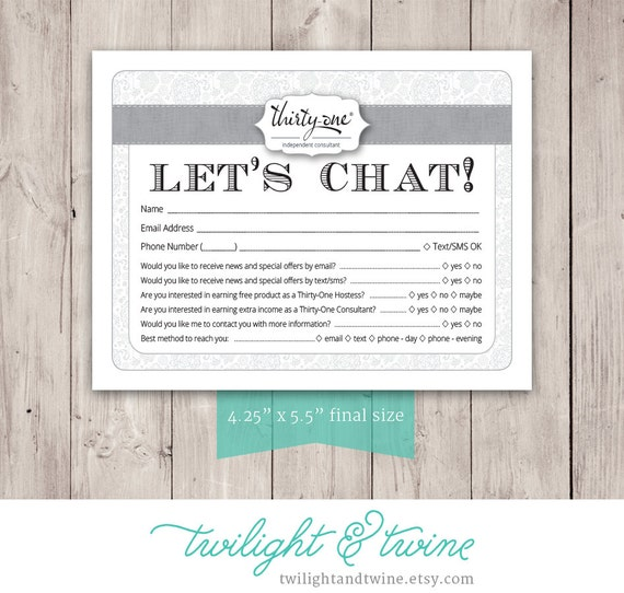 Thirtyone Drawing Customer Info Form PDF Printable – New Customer Information Form Template