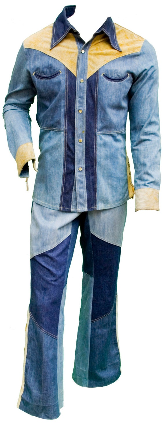1960 large mens denim jeans pant shirt set matching disco