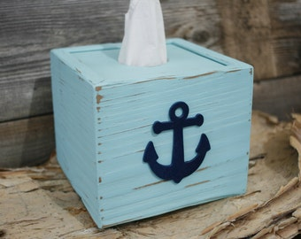 Tissue Kleenex Cube Box Cover Nautical Anchor Bathroom Decor Handmade Naturally Aged Distressed Wood Light Blue