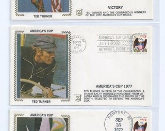 America's Cup Challange July Throught Sept 1977 Newwport, Rhode Island Four Corano Silk Event Cachets Postmarked Newport, RI 1977
