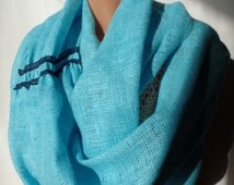 Linen scarf Women scarf Accessories Spring scarf Summer scarf Infinity scarf Fashion accessories Handmade gift ideas for her Circle scarf
