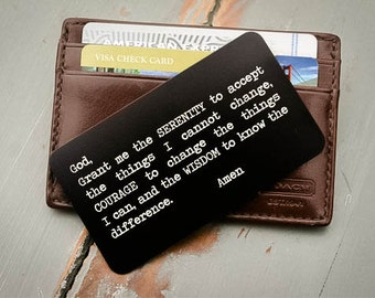 Custom Wallet Insert, Personalized Wallet Card: Valentines Day, Anniversary Gift for HIm, Gift for Men, Serenity Prayer, Sobriety Gift