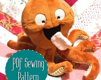 Kraken octopus squid plush pattern stuffed animal sewing PDF