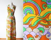 Vintage 60s Maxi Dress |  Groovy Dolphin Print Psychedelic Dress Halter Top Maxi Skirt Mod 60s dress Hippie Hawaiian Boho Festival Beach 70s
