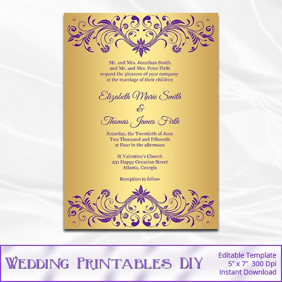 Purple and Gold Wedding Invitation Template Diy Gold Foil – Gold and Purple Wedding Invitations