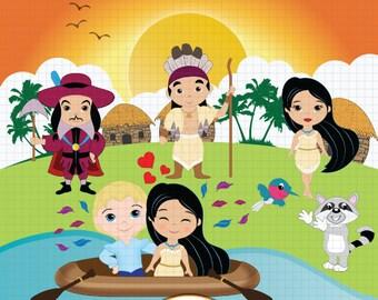 Pocahontas Clipart, Fairytale Clipart, Princess Clipart, Fairytale Princess Clipart, Princess Digital Clipart, Pocahontas Clip art