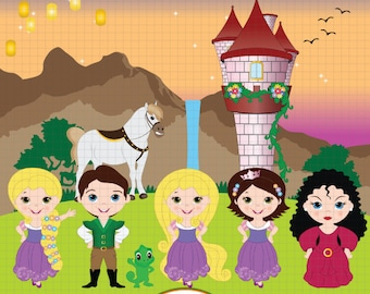Rapunzel clipart, Tangled clipart, Princess clipart, Fairytale clipart, Fairy tale clipart, Tangled Digital clipart