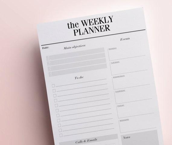 Blank Calendar Desk Pad : Weekly planner printable detailed week in review desk pad