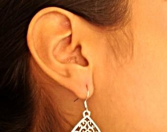 Turquoise Tear Drop Silver Earrings / Howlite Turquoise Silver Earrings.