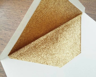 Gold Glitter Lined Wedding Envelopes (10 in A6 / C6)