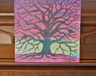 original painting acrylic on paper strong tree strength Character sunrise unique tree painting tree artbyevelynmarie home decor stamping