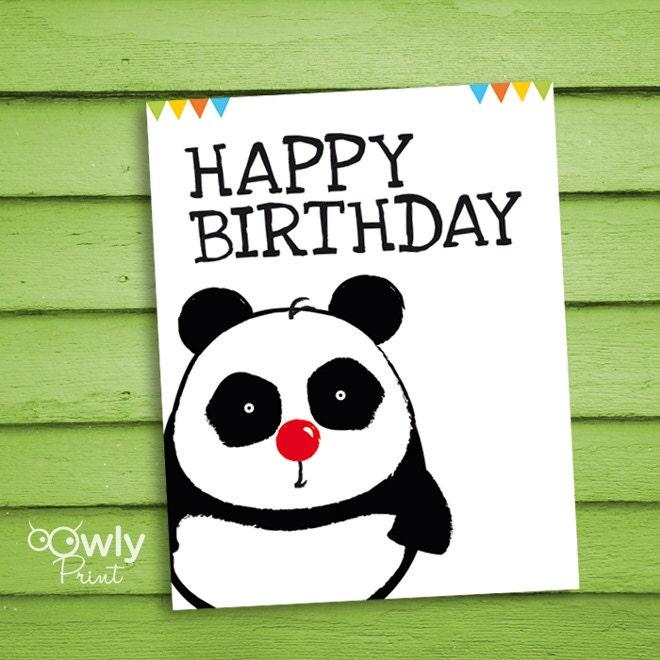 Поздравительная открытка с пандой, персонажи рисунки